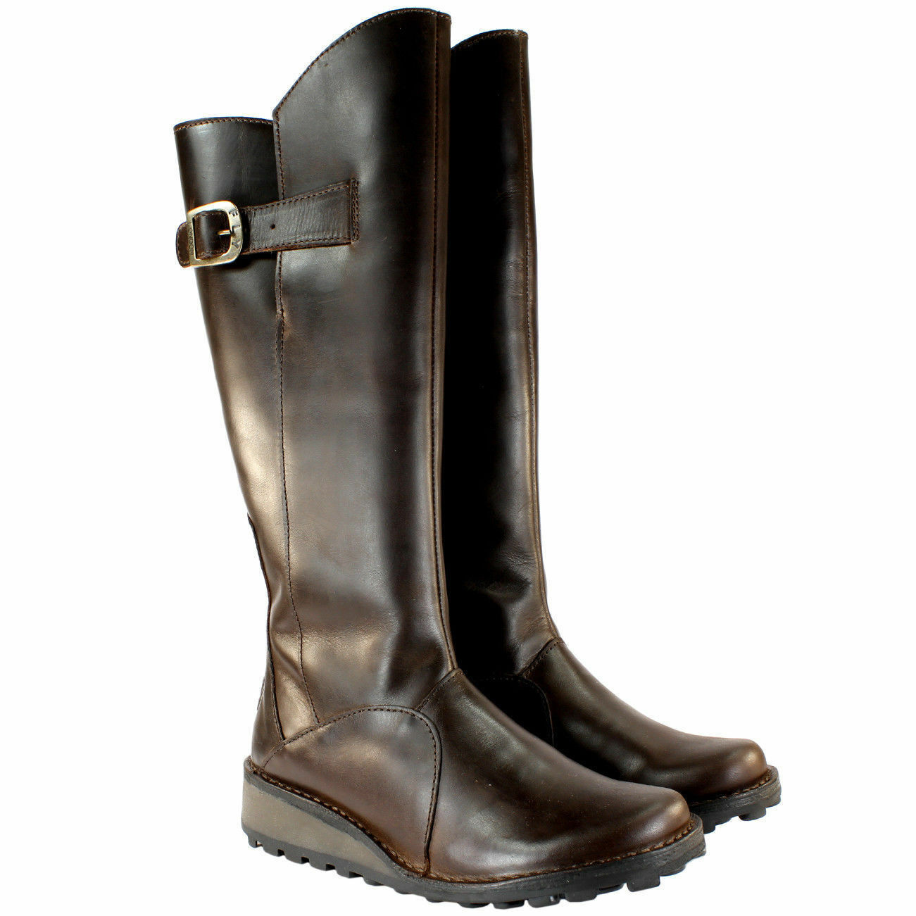 FLY LONDON MOL WARM BROWN LEATHER FLEECE LINED KNEE HIGH BOOTS UK 4  37