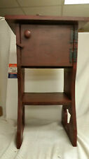 """Primitive Solid Pine Wooden Star Leg Table w/door Hand Crafted  24x12x12"""""""