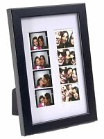 Black Photo Booth Frame W/ Stand, Holds 2- 2x6 Strips With White Mat