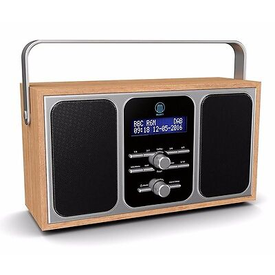 Majority Girton Stereo DAB+ DAB FM Digital Portable Radio Alarm Clock Wooden