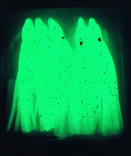 """2 pks-10ct-2.5/"""" Glow in the dark soft Squid Skirts Octopus Saltwater Bait Lure"""