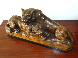 XXL-Lion-Tiger-Wooden-Figure-um-1900-Monogrammed
