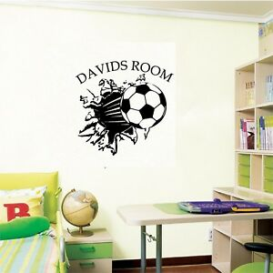 personalized boots and ball wall sticker football footballer,soccer your name