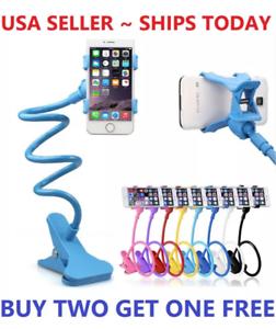 US Flexible 360 Clip Mobile Cell Phone Holder Lazy Bed desk Bracket Mount Stand