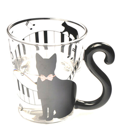Set of 4 Cat Design Glass Cup Mug Hot Cold Drink Coffee Tea Heat Resistant