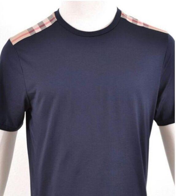 Burberry Brit men's short sleeve dark navy nova check shoulder patch t-shirt s,m