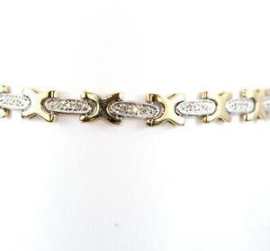 10K-Two-Tone-034-XO-034-Tennis-Bracelet-w-Diamond-Chips-6-5-034-Length