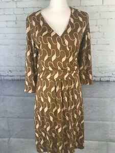 Boden Elena Dress Brown Wrap Front Stretch Knit Womens Xl