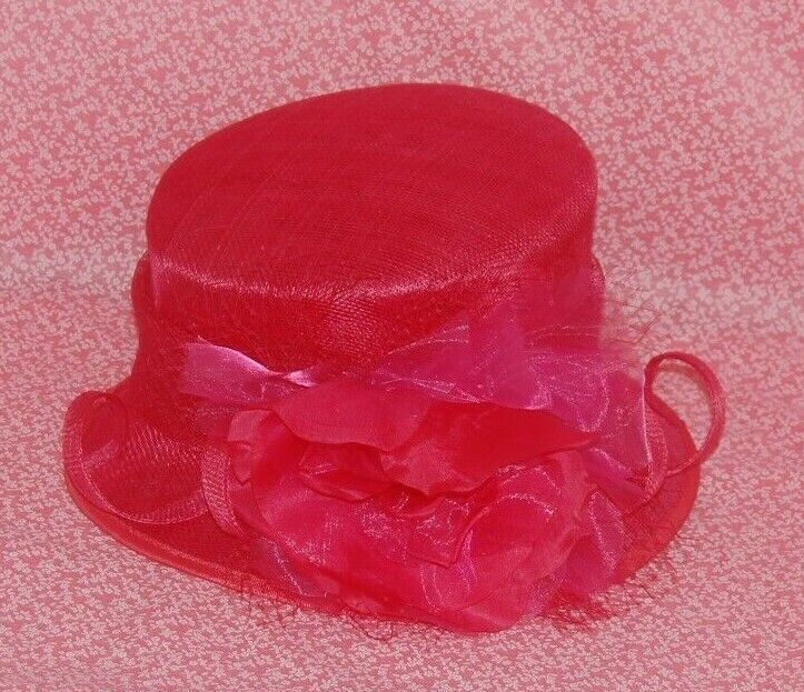Special Occasion Sinamay Hot Pink Rose Decoration Neat Brim Hat. BNWT