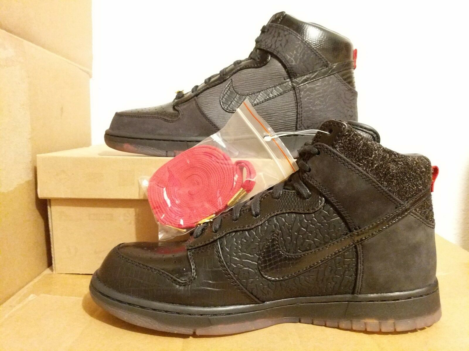 NEW  Nike Dunk Hi Premium QS Mighty Crown 20th Anniver 503766-001 BLACK RED sz 9