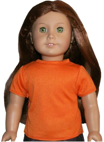 """Orange Knit Tee T-Shirt fits 18/"""" American Girl Size Doll"""