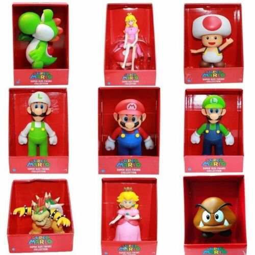 9 High quality Super Mario Bros Action Figures Toys BIG SIZE with Original box
