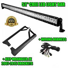 "52"" 300W LED Light Bar+Mount Brackets Fit for Jeep JK Wrangler+Wiring Kit"