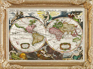 Old world map dollhouse picture art miniature made in america image is loading old world map dollhouse picture art miniature made gumiabroncs Image collections
