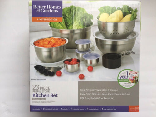 New Better Homes /& Gardens 23 Piece Prep and Store Kitchen Set Stainless