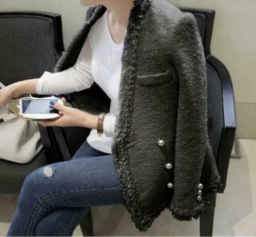 women coat tassel pearl Tweed jacket coat woolen cashmere button Ruffles Casual