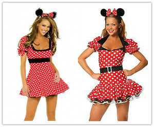 halloween damen minnie mouse rot gepunktet kost m kleid outfit ebay. Black Bedroom Furniture Sets. Home Design Ideas