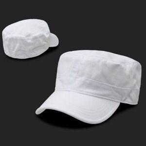 a4937309874b24 White Military Cadet Flat Top Flex Baseball Cap Caps Hat Hats One ...