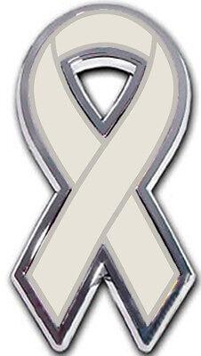 Grey Ribbon Chrome Emblem for Brain Cancer and Gray Awareness Causes