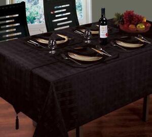 LUXURIOUS-WOVEN-CHECK-JACQUARD-BLACK-TABLE-CLOTH-52-034-X-70-034-4-NAPKINS-4-PLACEMATS