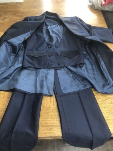 Vintage H Bar C 3 Piece Suit Vest Blue 36R 30 x 29