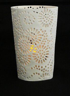 Large White Tea Light candle holder wedding decor Sunflower Design 11cm tall