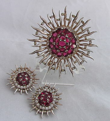 VTG Philippe Trifari Sterling GW Raspberry Red Sunburst Dress Clip &Earrings Set