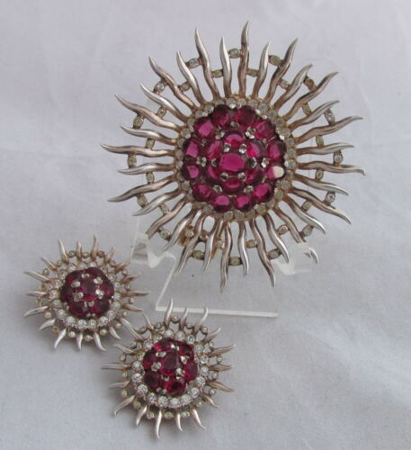 VTG Philippe Trifari Sterling GW Raspberry Red Sun