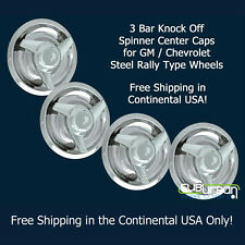 Chevrolet GM Rally Wheel Chrome 3 Bar Knock Off Spinner Center Caps NEW SET 4
