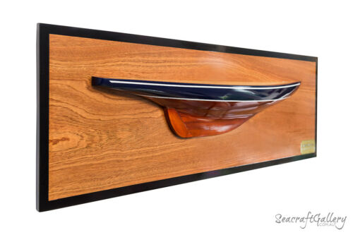 HANDCRAFTED WOODEN ENDEAVOUR HALF HULL MODEL YACHT 90CM