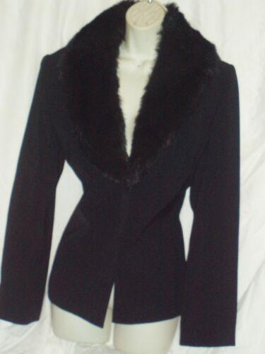 pezzi Suit 2 Skirt 14 Jacket Black S Collar Fur Blazer Outfit Faux Anna Carole dUFqUxTP