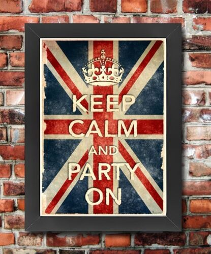 KCV5 Framed Vintage Style Union Jack Keep Calm Party On Funny Poster A3//A4