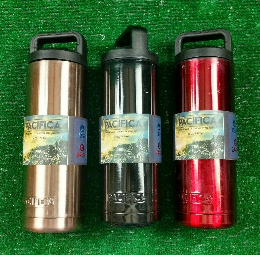 LOT OF 3 PACIFICA WIDE MOUTH STAINLESS STEEL DOUBLE WALL INSULATED BOTTLES   D15