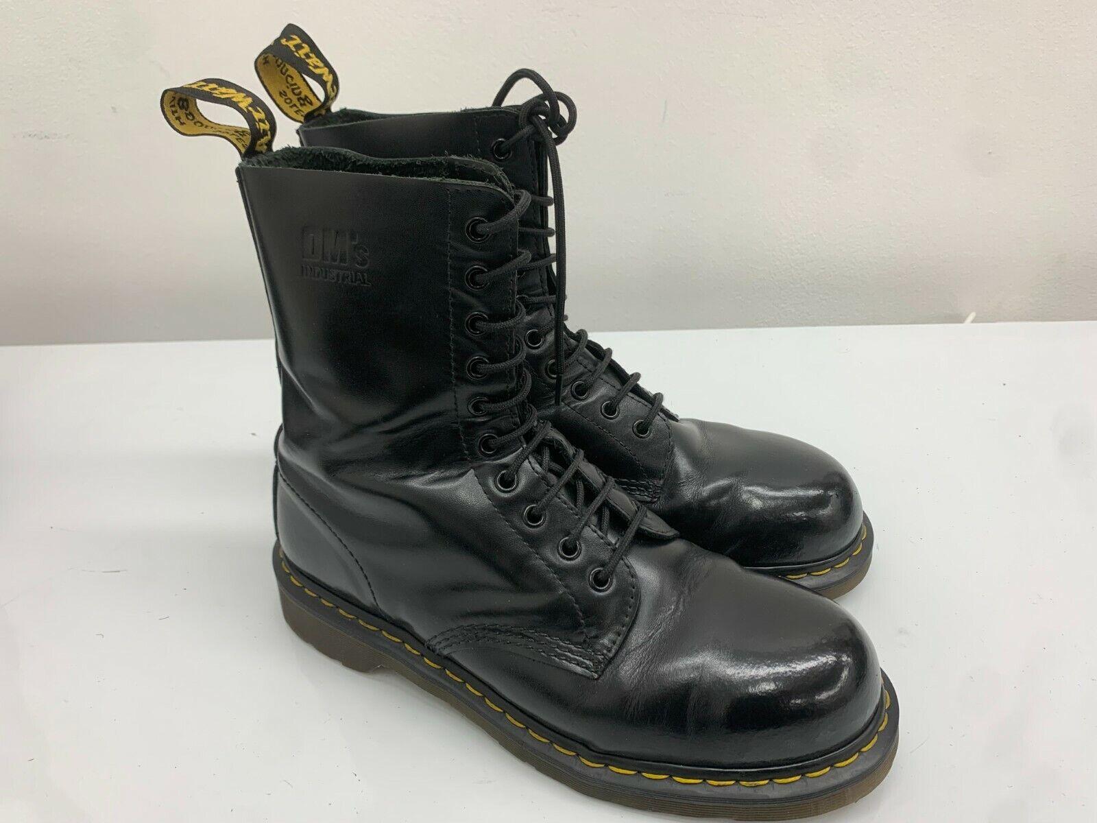 Dr Martens Boots, Black, Size 9UK, 10 Eyelet, Steel Toe Cap Docs Shiny DM's