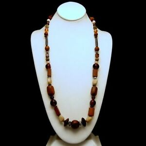 Vintage-Necklace-Large-Wood-Glass-Metal-Polished-Gemstones-Beads-Long-Length