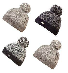 00ca3821 Details about Kusan 100% Wool Chunky Knit Turn Up Bobble Beanie Hat Choice  of colours (PK1728)