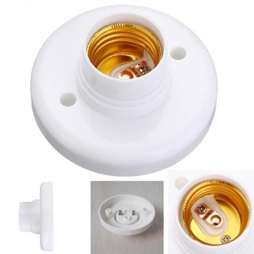 2 Stk E27 Weiß Runde Kunststoff Basis Schraube Glühbirne Lampenfassung Halt K9M0