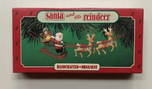 Santa-and-His-Reindeer-Hallmark-Keepsake-Christmas-Ornament-Vintage-1986-P-O