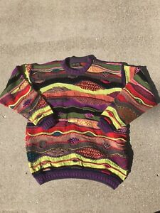 VTG-80s-COOGI-Australia-Schurwolle-Crazy-Farben-Pullover-Hip-Hop