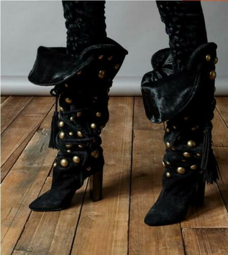 Details about  /Womens Velvet Knee High Boot Rivet Block High Heel Pointed toe lace up shoes New