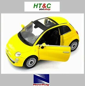 NEW-RAY-COCHE-DE-METAL-1-24-FIAT-500-NUOVA-2007-YELLOW