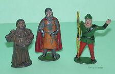 BENBROS * 3 Vintage Lead Robin Hood Figures * Robin * Friar Tuck * Sherrif *