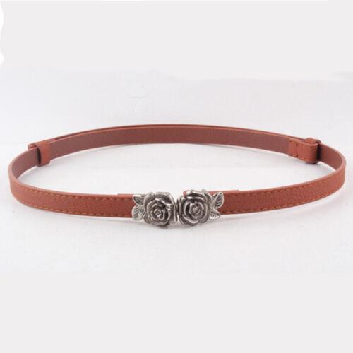 Women Elegant Faux Leather Band Rose Flowers Hook Buckle Waist Belt Strap MA