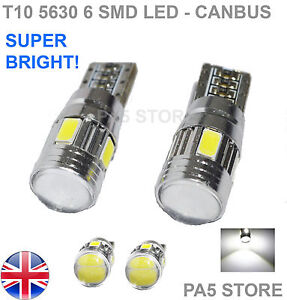 2x-T10-6-SMD-5630-LED-XENON-WHITE-501-W5W-CANBUS-SIDE-REVERSE-LIGHTS-BULBS-6000K