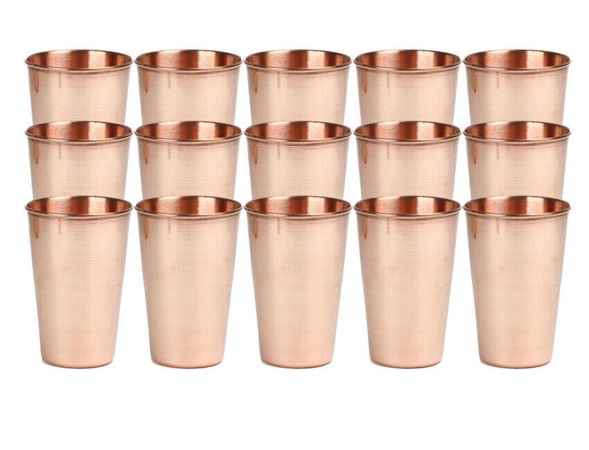 15x Pure Cuivre potable desservant Tumbler Handmade verre tasses 100% Pure Cuivre