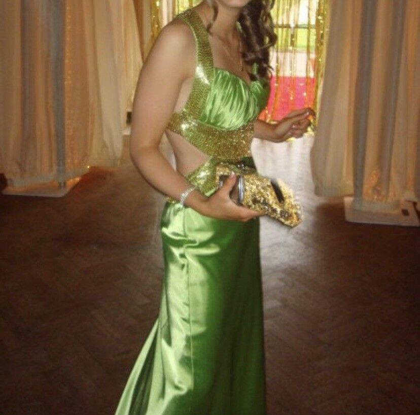 Lime Green Evening Dress With gold Sequins