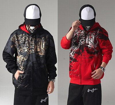 Homme Sweatshirt Veste à Capuche Gilet Sweat Zippée Hoody Zip Coton Hip-Hop Neuf