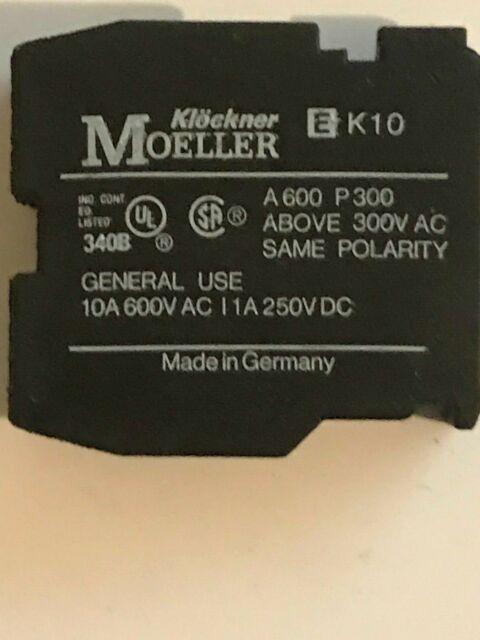 KLOCKNER MOELLER  Count Contact Auxiliary Block EK10 A600 P300 Above 300VAc