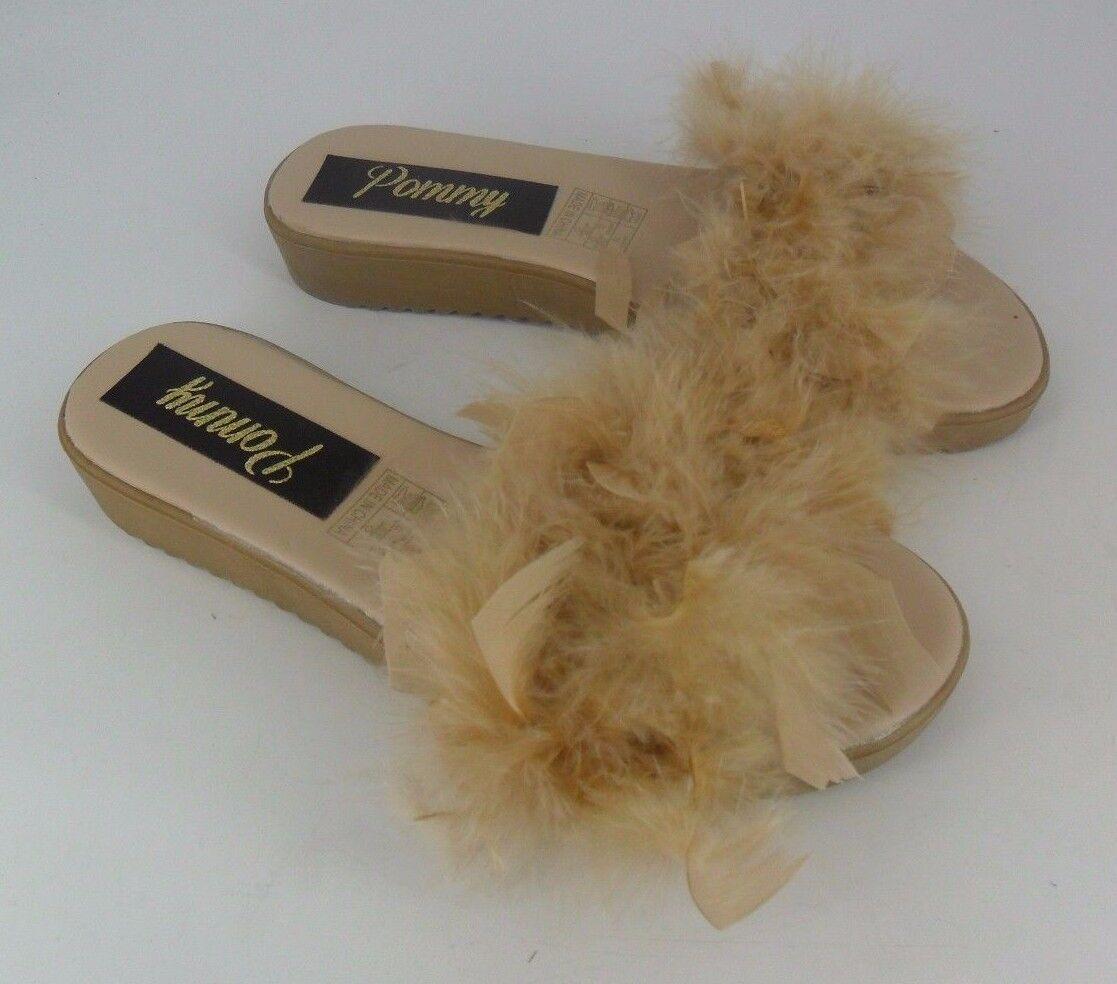 Pommy Nude Fluffy Feather Sliders UK 5 EU 38 JS37 39