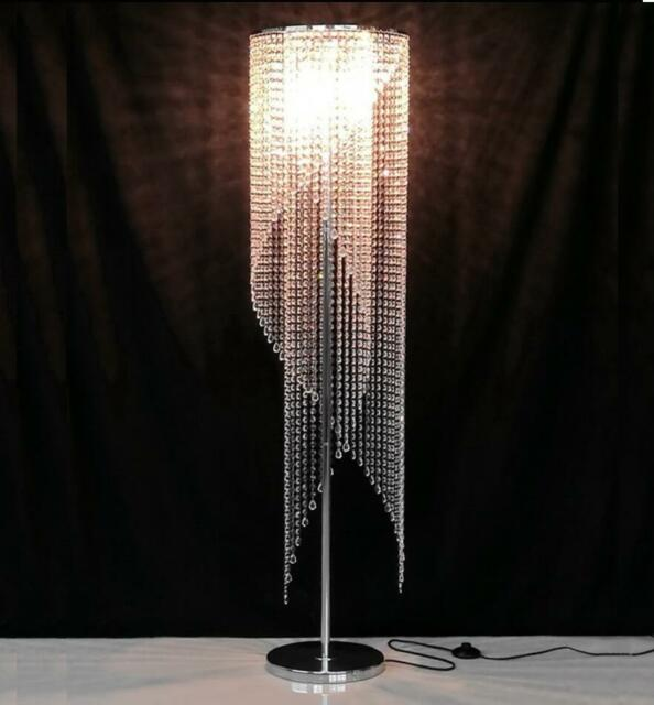 LED Crystal Floor Lighting Living Room Floor Lamp Bedroom Standard Light  Fixture